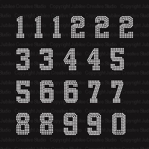 Jersey Numbers - Set of 21 - Iron On Rhinestone Crystal Transfer