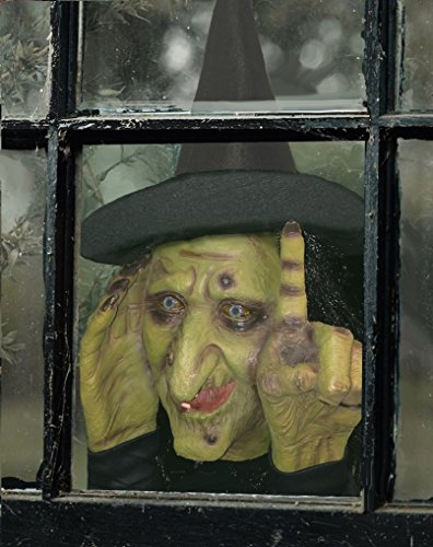 Scary Peeper Electronic Tapping Halloween Decoration – Motion Activated Peeping Tom Witch That Looks In And Taps – Easily Attaches To Any Window