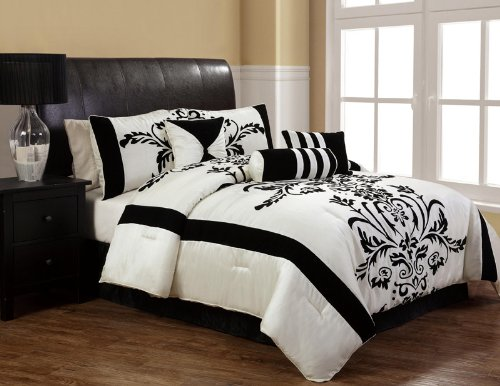 11pcs queen salma black and white bed in a bag set - Black and white bedding set ...