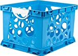 Storex Large Storage and Filing Crate with Comfort Handles, 17.25 x 14.25 x 10.5 Inches, Blue/White, Case of 3 (STX61767U03C)