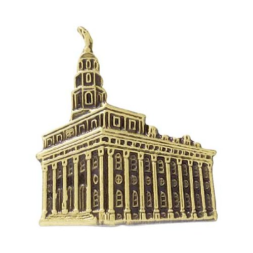 LDS Mens Antiqued Gold Steel Nauvoo Temple Tie Tac / Tie Pin for Boys - LDS Tie Tac, LDS Tie Pin, Missionary Gift