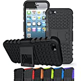 iPhone SE Case, OEAGO iPhone SE Cover Accessories - Tough Rugged Dual Layer Protective Case with Kickstand for Apple iPhone SE - Black