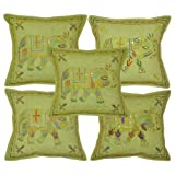 Handmade Elephant Cotton Cushion Cover Pillowcases 16 X 16 Inches Set 5 Pcs