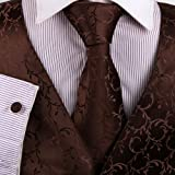 511idLDwaRL. SL160  Brown Paisley Formal Vest for Men Grey Patterned for Mens Gift Idea with Neck Tie, Cufflinks, Handkerchief, Bow Tie for Suit Vs1013