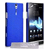 Sony Xperia S LT26i Case Blue Mesh Hard Back Cover With Screen Protector Film And Grey Micro-Fibre Polishing Clothby Yousave Accessories