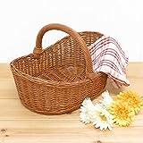 型番531 籐かご ラタンバスケット 籐小物入れ 花かご ハンドル付き 【かごのお店ラッセル】