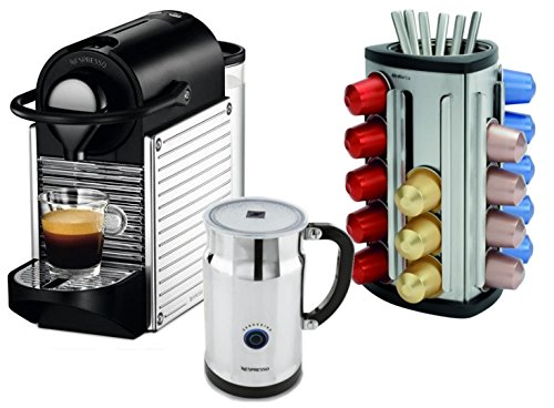 Nespresso C60 Pixie Chrome Espresso Machine with Aeroccino Milk Frother and Bonus 30 Capsule Carousel
