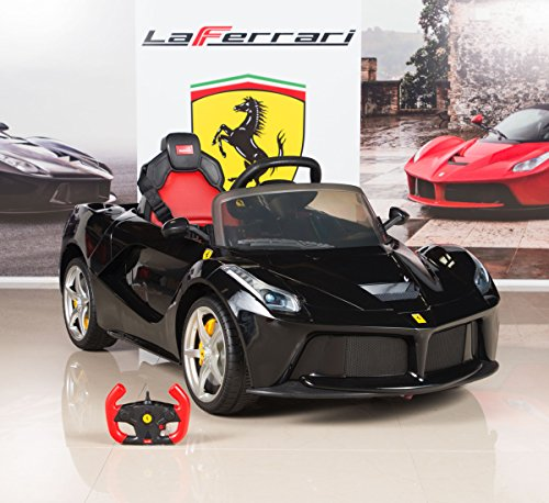 bigtoysdirect 12v ferrari laferrari battery operated kids ride on car with mp3 and remote control black little kid cars