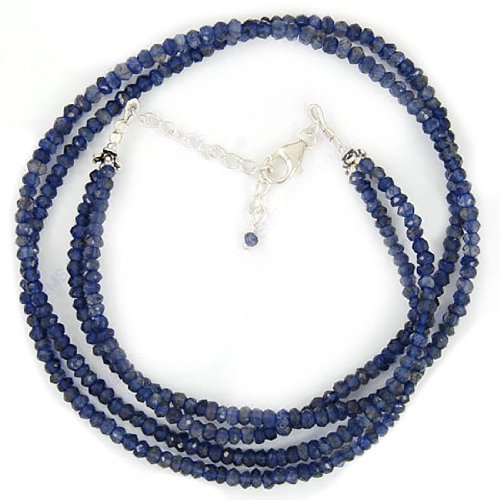 925 Sterling Silver Designer & Antique Style Beads Strand Necklace Natural Iolite 4 mm Gemstone 21 Inches Jewelry Set