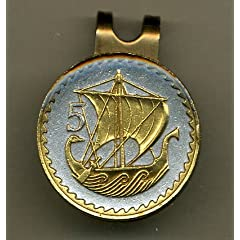 Gorgeous 2-Toned Gold on Silver Cyprus Viking ship - coin - Golf Ball Marker - Hat... by J&J Coin Jewelry