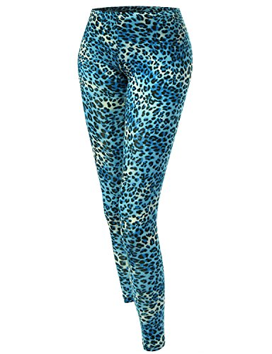 Blue Leopard Color Printed Leggings - S, M or L - Choice of Colors
