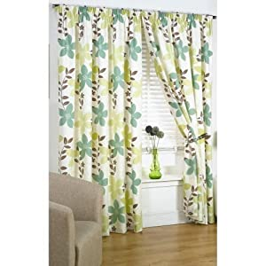 "Bruges Green Brown Cream Floral Lined Pencil Pleat Curtains Drapes 90"" X 72"" from PCJ SUPPLIES"