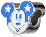Disney Stainless Steel Mickey Star Ears Enamel Bead Charm