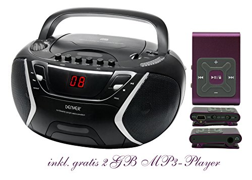 Kinder Mädchen Stereoanlage CD-Player Radio Kassettendeck Boombox DENVER TCP-38 Schwarz inkl. 2GB MP3-Player Lila
