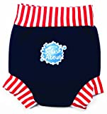 Splash About Kids Reusable Swim Nappy - THE Happy Nappy - Navy/Red/White Stripe Rib, Large, 6-14 Months