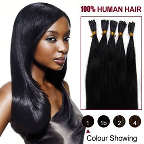 "A.H Stick I Tip 100% Indian Remy Human Hair Extensions 18""-24"" 100Pcs/Pack 100G Straight Jet Black #1"