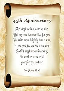 45th Anniversary Personalised Poem Gift Print: Amazon.co ...