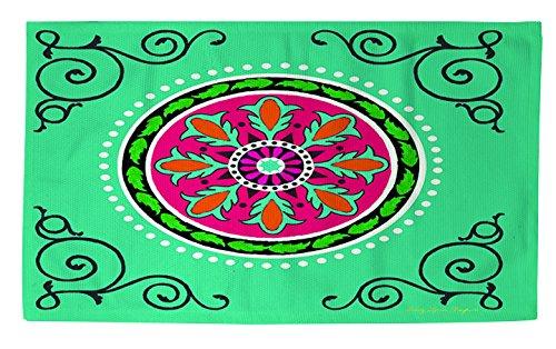 Thumbprintz Dobby Bath Rug, 2 By 3-Feet, Turquoise Boho Medallion front-484512