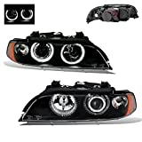 SPPC Projector Headlights Halo Black Reflector For BMW 5 Series E39 - (Pair)