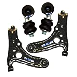 2 x Track control/Suspension/Wishbone arm FRONT LEFT AND RIGHT PRE-FINISHED WITH BEARING BUSH AND BALL JOINT INC. NUTS +2X ANTI-ROLL BAR LINK/ STABILISER LINK, VW POLO 6N 6N1 YEAR 1994-99, SEAT AROSA YEAR 1997-98