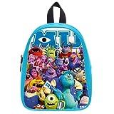 Generic Custom Cute Disney Monsters University Roles Printed Deep Sky Blue School Bag Backpack Fit Short Trip PU Leather Large