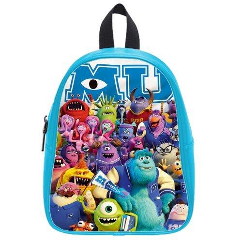 Generic Custom Cute Disney Monsters University Roles Printed Deep Sky Blue School Bag Backpack Fit Short Trip Pu Leather Large front-974889