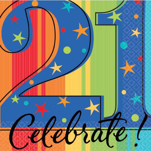 "Amscan A Year To Celebrate Happy Birthday 21st Celebration Beverage Party Napkins, 5"" x 5"", Multicolor"