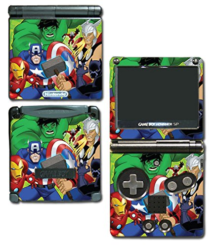 Avengers Earth's Mightiest Heroes Thor Hulk Iron Man Captain America Cartoon Video Game Vinyl Decal Skin Sticker Cover for Nintendo GBA SP Gameboy Advance System (Gameboy Advance Captain America compare prices)