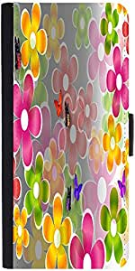 Snoogg Multicolored Daisies And Butterflies 2662 Designer Protective Flip Cas...