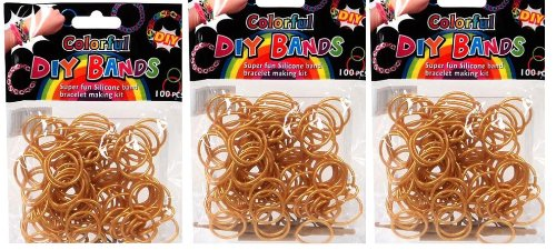 DIY Bands - 300 Count Gold Refill Silicone Bands with Clips and Loom Tool