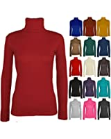 POLO NECK TOP STRETCH LADIES ROLL NECK LONG SLEEVE TURTLE NECK TOP JUMPER S/M M/L