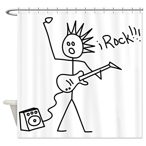 Cafepress Irock Stick Man With Spiked Hair Plays Electric Gu Shower Curtain - Standard White