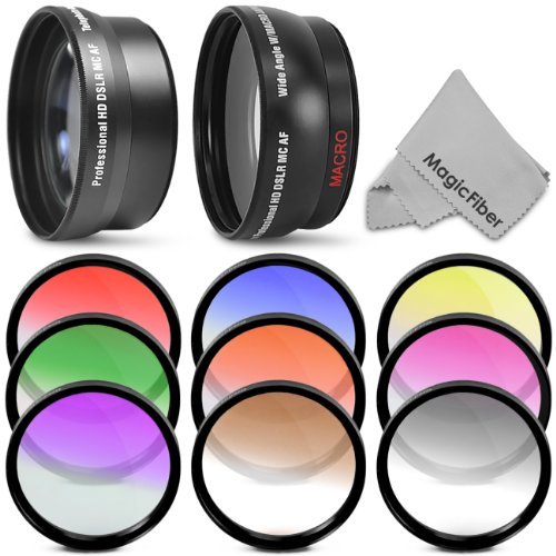 52MM Lens and Filter Kit for NIKON D3200 D3100 D3000 D5200 D5100 D5000 DSLR Cameras – Includes: 52mm 2.2X Telephoto and 0.43X Wide Angle High Definition Lenses + 8 Pcs Gradual Color Filter Kit (Blue, Red, Yellow, Green, Purple, Grey, Pink and Coffee) + MagicFiber Microfiber Lens Cleaning Cloth