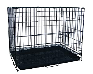 YML 30-Inch Foldable Light Duty Door Dog Crate with Wire Bottom Grate and Plastic Tray, Black