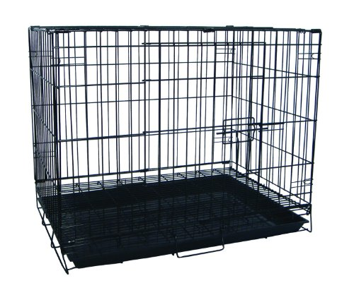 Yml 24-Inch Foldable Light Duty Door Dog Crate With Wirebottom Grate And Plastic Tray, Black front-41311