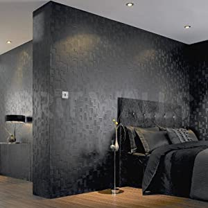 3d block 39 black brick effect wallpaper by wallpaper heaven for 3d effect wallpaper uk