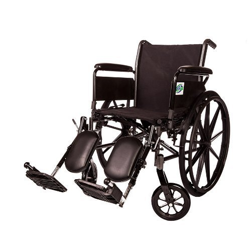 Lightweight Folding Wheelchair Detachable Full Arm and Removable/detachable Elevating Legrests By Healthline (20″ FULL ARM)