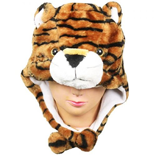 Tiger_New_Warm Cap Earmuff Gift Cartoon Animal Hat Fluffy Plush Cap – Unisex (US Seller)
