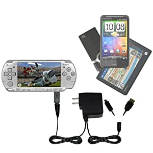 Sony PSP-2001 Playstation Portable compatible Dual Wall / Travel AC Charger - One Charger for up to two devices with upgradeable Gomadic Brand TipExchange