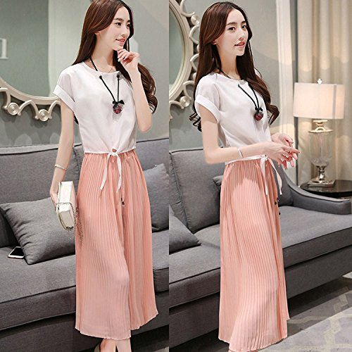KTK/ Estate vestito coreano. moda femminile Joker. sciolto camicia manica corta pieghe gamba larga pantaloni. twin set , pink , xl