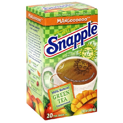 Buy Snapple Mango Green Tea, Tea Bags, 20-Count Boxes (Pack of 12) (Snapple, Health & Personal Care, Products, Food & Snacks, Beverages, Tea, Green Teas)