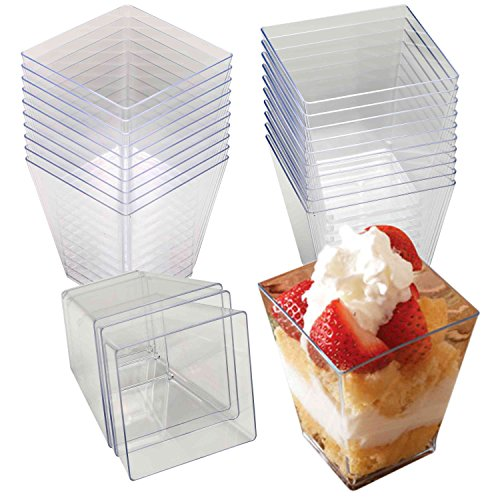 48 2oz. Mini Square Clear Stylish Dessert Cups, Shot Glasses,