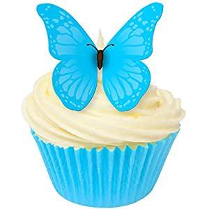 Butterfly Cake Decoration Uk : 12xSugar Free Cake Decorations - Blue Vivid Butterfly ...