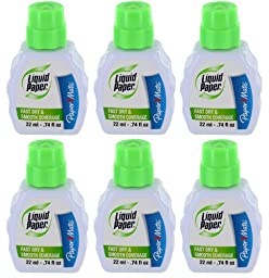 Paper Mate Liquid Paper Smooth Coverage Correction Fluid, 22 ml, White, Pack of 6 - PAP5633115