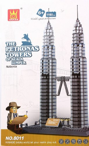Petronas Towers of Kuala Lumpur Malaysia Building Block Bricks 1160pc Compatible Architecture Toys K0056-1