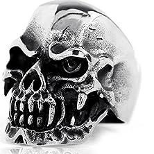 buy Elove Jewelry Gothic Skull Stainless Steel Men'S Biker Ring, Silver Black