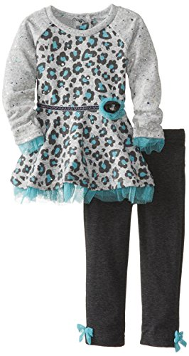 Little Lass Baby-Girls Infant 2 Piece Hacci Printed Legging Set, Turquoise, 24 Months front-739084