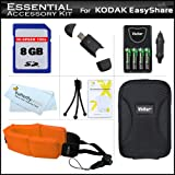 8GB Accessory Kit For Kodak EasyShare Sport C123, C135 Waterproof Digital Camera Includes 8GB High Speed SD Memory Card + 4 AA High Capacity Rechargeable NIMH Batteries + AC/DC Charger + Case + More