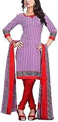 Fabiola Trendz Women's Crepe Unstitched Dress Material (Purple )