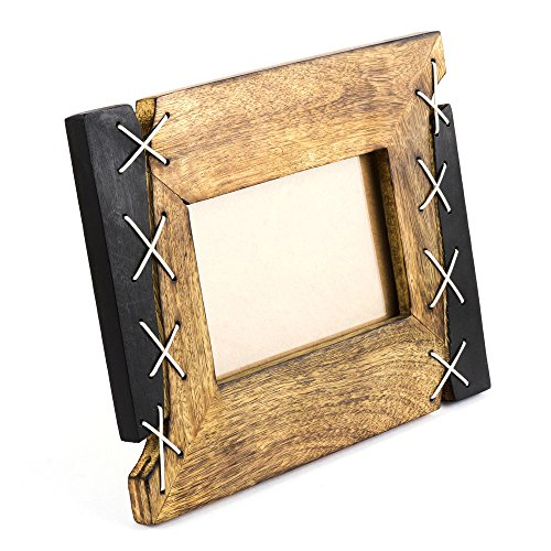 Rusticity Wood and Leather Picture Frame | Handmade | (7x5in) (Leather Picture Frame 5x7 compare prices)